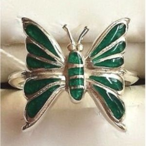 Sterling Silver Butterfly Ring Green Size 6 8 9
